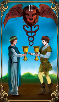 2 of Cups Tarot card from the Astrology Answers Master Tarot Deck.