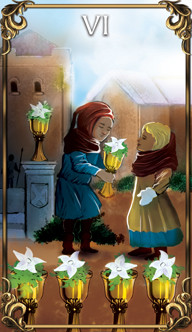6 of Cups Tarot card from the Astrology Answers Master Tarot Deck.