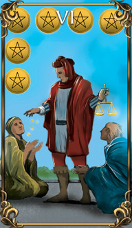 6 of Pentacles Tarot card from the Astrology Answers Master Tarot Deck.