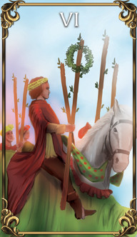 6 of Wands Tarot card from the Astrology Answers Master Tarot Deck.