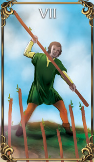 7 of Wands Tarot card from the Astrology Answers Master Tarot Deck.