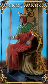 King of Wands Tarot card from the Astrology Answers Master Tarot Deck.