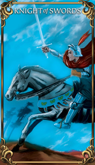 Knight of Swords Tarot card from the Astrology Answers Master Tarot Deck.