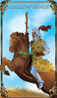 Knight of Wands Tarot card from the Astrology Answers Master Tarot Deck.