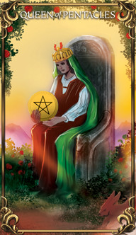 Queen of Pentacles Tarot card from the Astrology Answers Master Tarot Deck.