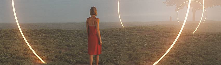 A woman walks through a field in a dream surrounded by red circles of neon light.