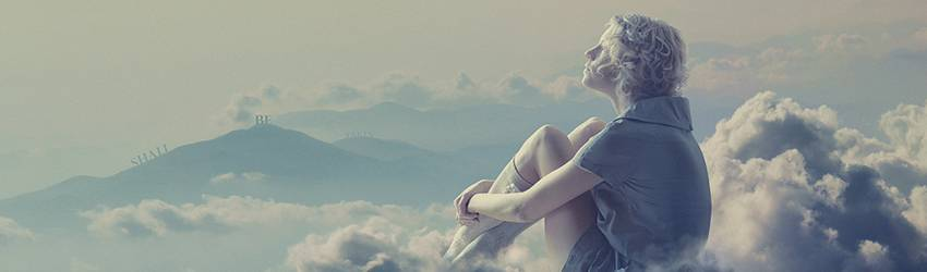 A woman sits in the clouds in her dream. This is a good omen.