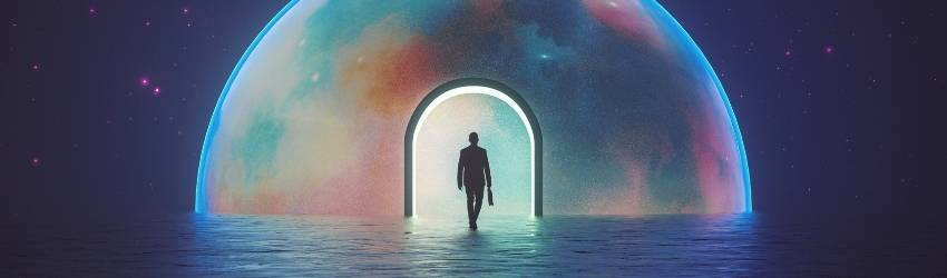 A shadowed figure stands under a dome of many colors, the background is the night sky.