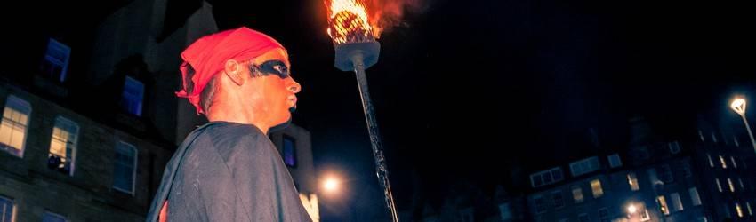 The torch barer at the Edinburgh Samhuinn Fire Festival.