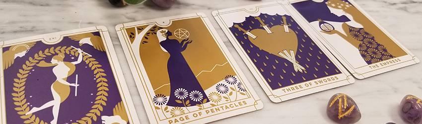 Four cards shown from the BiddyTarot Tarot Deck.