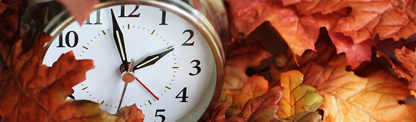 A clock is sitting in a pile of red and orange leaves.