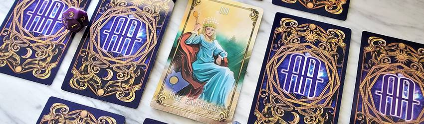 The High Priestess card is displayed with the AA master tarot deck.