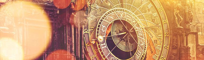 An astrology clock on the wall.