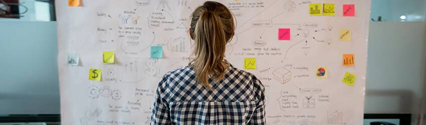 A woman stares at numbers on a board next to her goals on post it notes. She is trying to use numerology to plan her future.