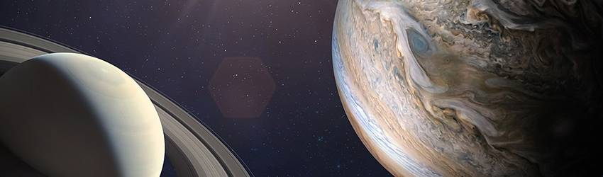 The Jupiter and Saturn conjunction pictured in space.