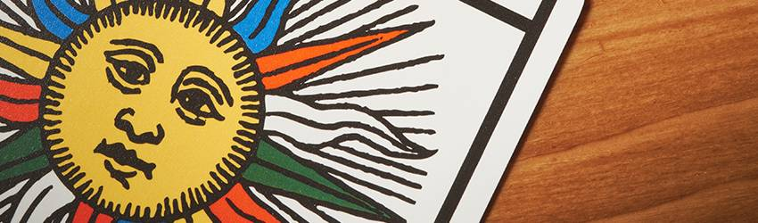 The Sun Tarot card - A close up of the sun image.