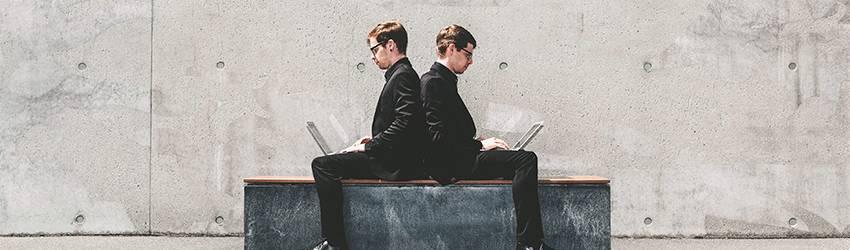 Twins using laptops. Geminis using technology.