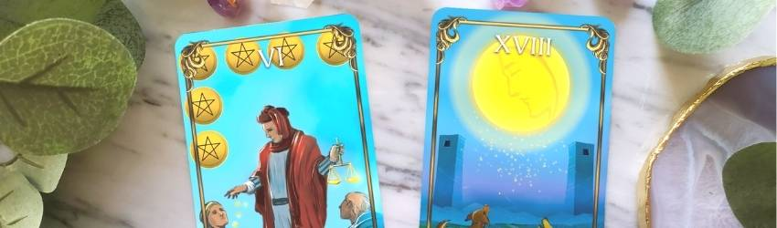 Two cards sit on a marble table representing the Tarotscopes that were pulled for June 2021.