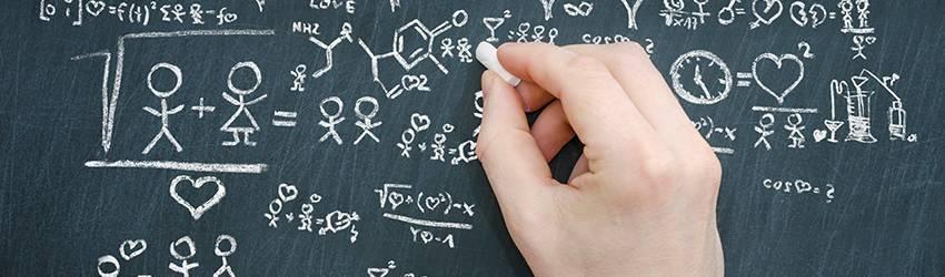 A man is doing love math on a chalkboard.