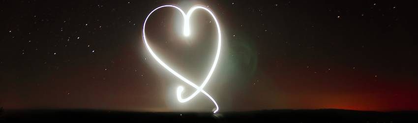 A person has drawn a heart with a light writer.