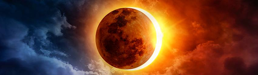 A New Moon Solar Eclipse happens in the sky.