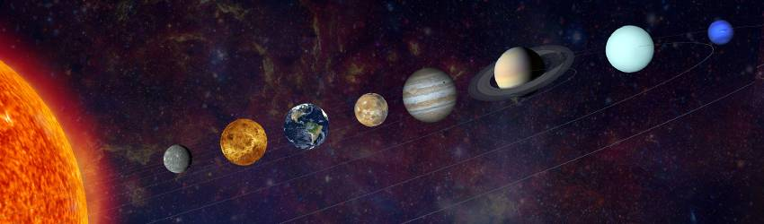 The planets of the solar system shown in line with the Sun.