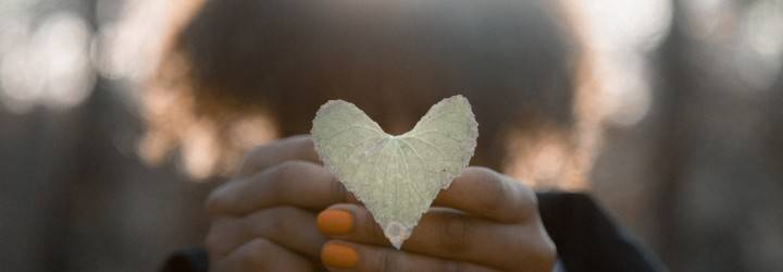 A person holds a heart out in front of their face.