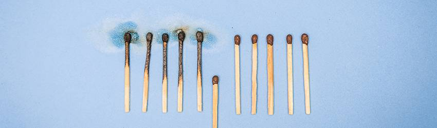 Matches that represent social distancing.