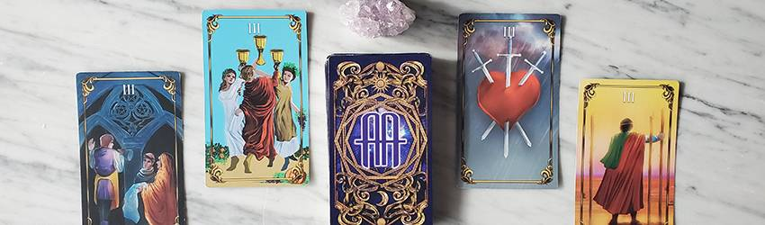 The 3's in a tarot deck shown on the Astrology Answers Master Tarot Deck.