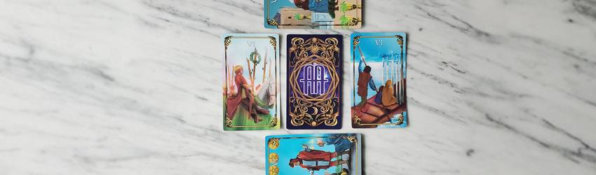 The 6s of the Minor Arcana shown on the Astrology Answers Master Tarot Deck.
