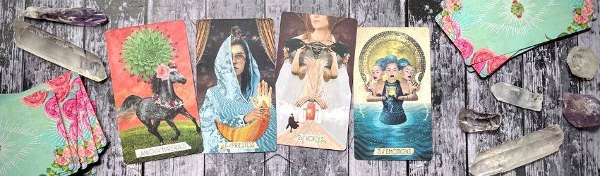 A sample tarot card spread featuring cards from the Muse deck.