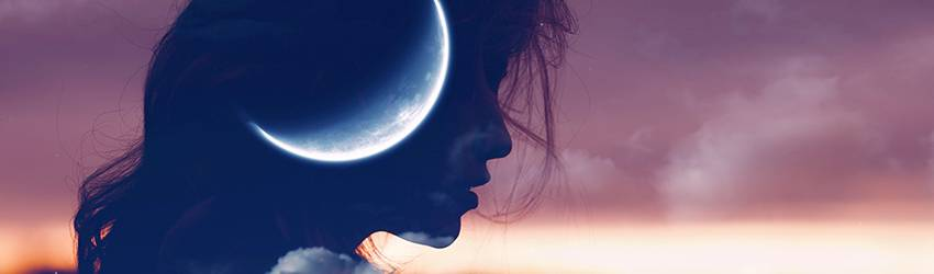 A silhouette of a person sits on the left side of the screen with a New Moon imposed on their face.