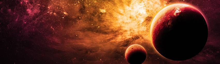 Two planets rotating backwards through a solar system of stars and comets.