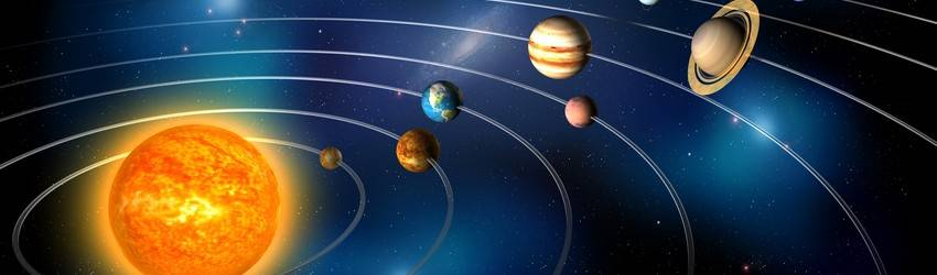 The planets pictured in space.