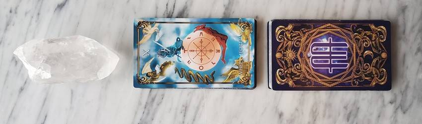 The wheel of fortune card on the Astrology Answers Master Tarot Deck.