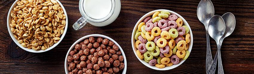 Cereal in different bowls representing each zodiac sign.