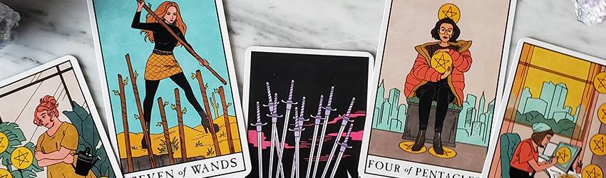 Minor arcana cards on the Modern Witch Tarot Deck.