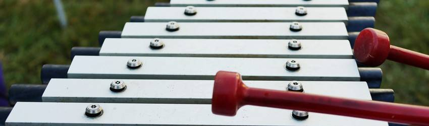 A xylophone with two sticks resting on it.