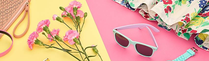 Sunglasses and flowers.