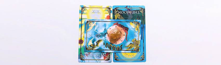 Tarot cards in a yes no tarot spread. This is shown on the Astrology Answers Master Tarot Deck.