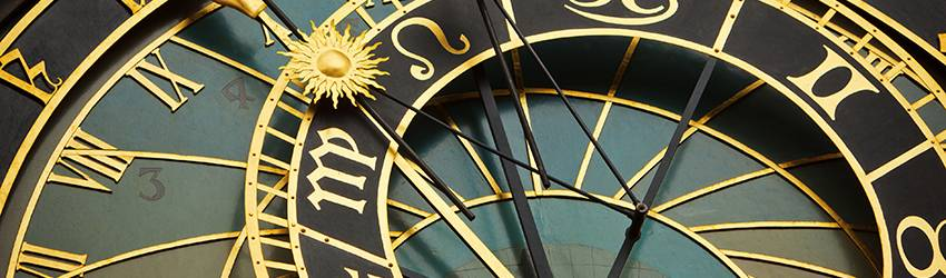 An astrology clock showing that it is between Virgo season and Libra Season.