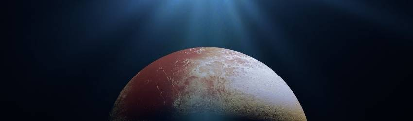 The planet Pluto is rising from the bottom of the screen.
