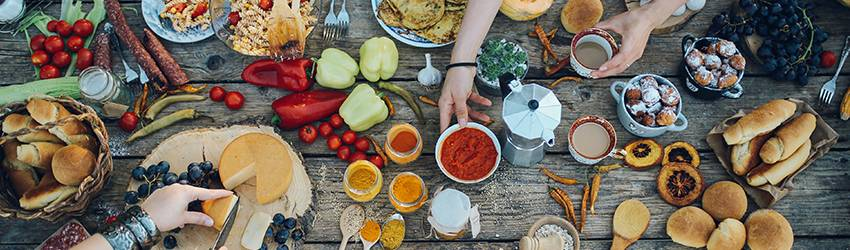 A table spread of delicious foods.